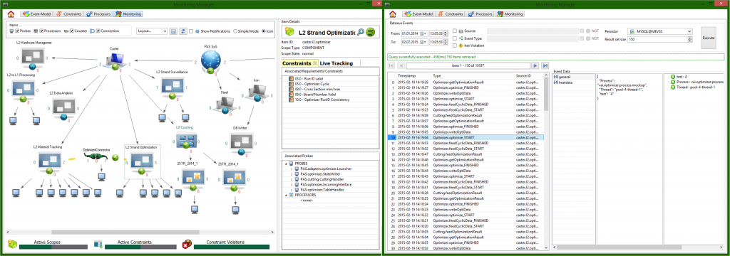 ReMinds Monitoring and Diagnosis View (left) and Event Trace Reviewer (right)